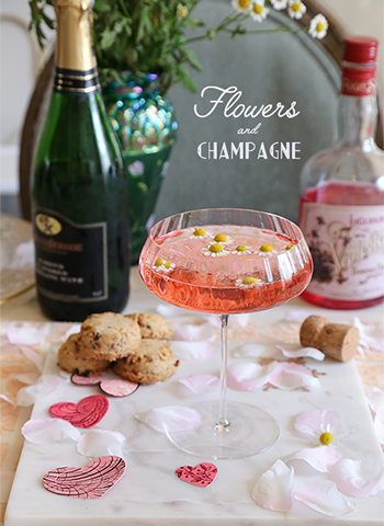 Flowers and Champagne Cocktail