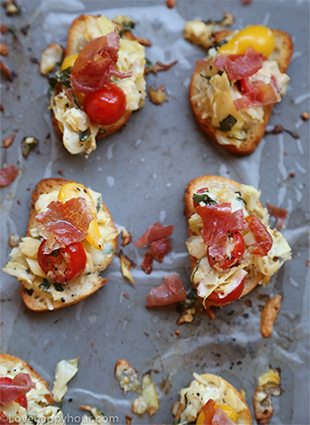 Artichoke and Tomato Bruschetta with Crispy Prosciutto.