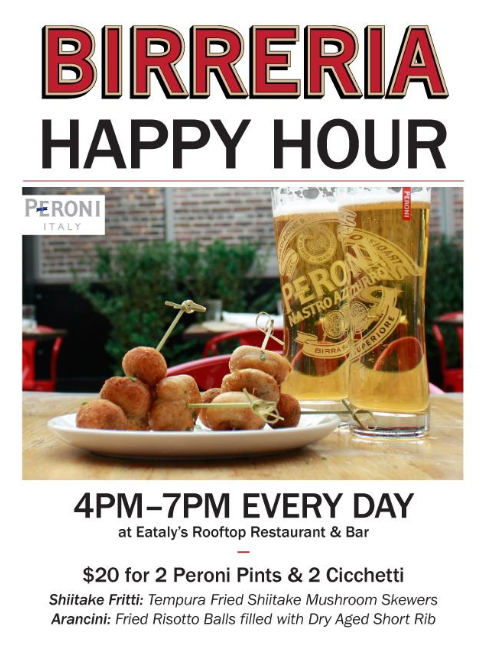 Eataly in New York City Launches Happy Hour.  #happyhour #NYC