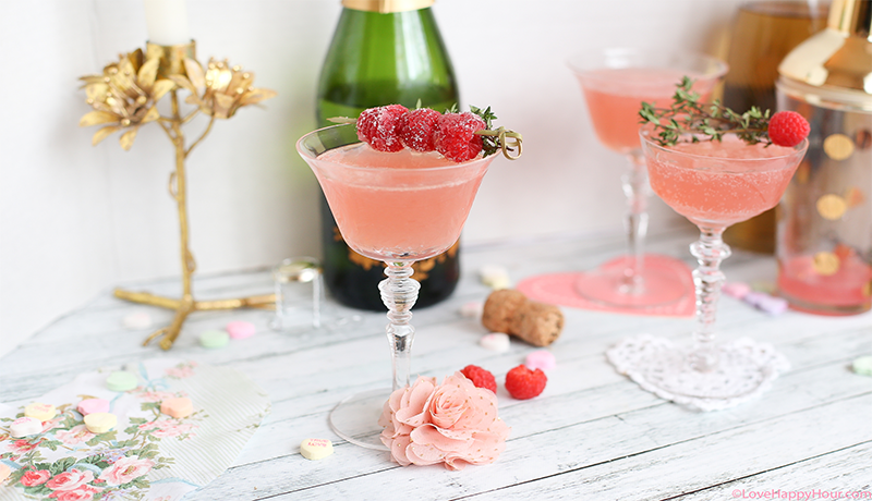 Elderflower Fizz: A Valentine's Day Cocktail made with raspberries.