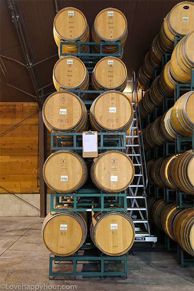 Wine barrel aging at Fess Parker Winery.