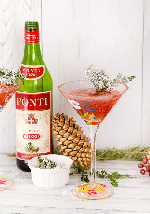 Flock It: A holiday martini made with Bourbon and Spiced Cider - by Maren Swanson. #martini #recipe #bourbon #Christmas