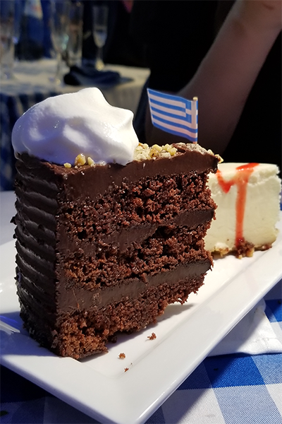 Chocolate Cake at Delphi Greek in Westwood
