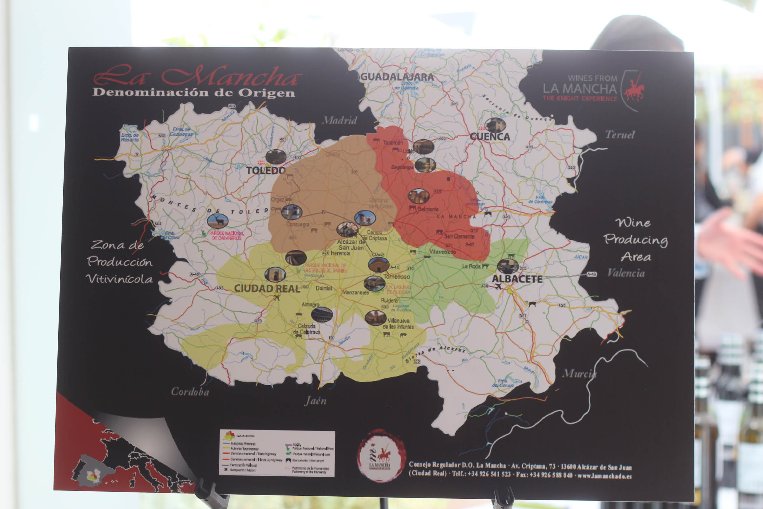 La Mancha Wine Map in Spain