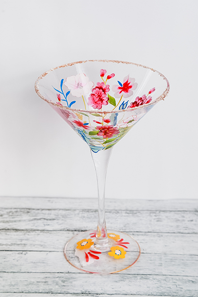 Floral Martini Glass