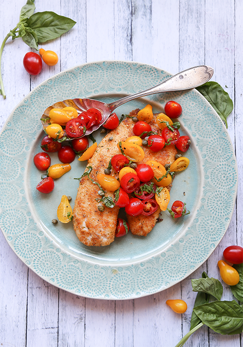 Pan Fried Tilapia with Tomatoes, Basil and Capers by Maren Swanson. #recipe #fish #tilapia