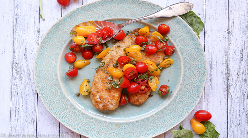 Pan Fried Tilapia with Tomatoes, Basil and Capers by Maren Swanson. #recipe #tilapia